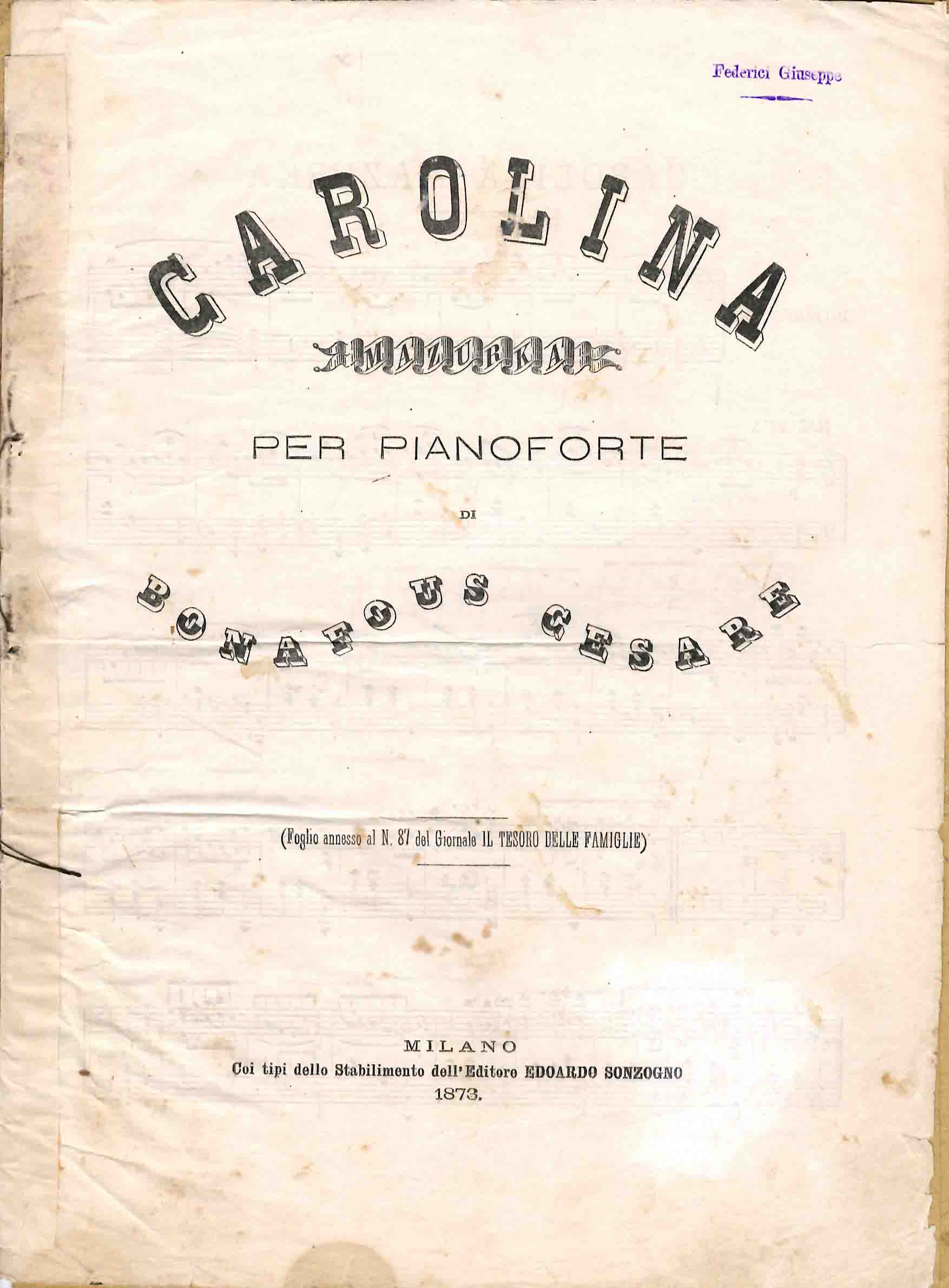 Carolina. Mazurka per pianoforte