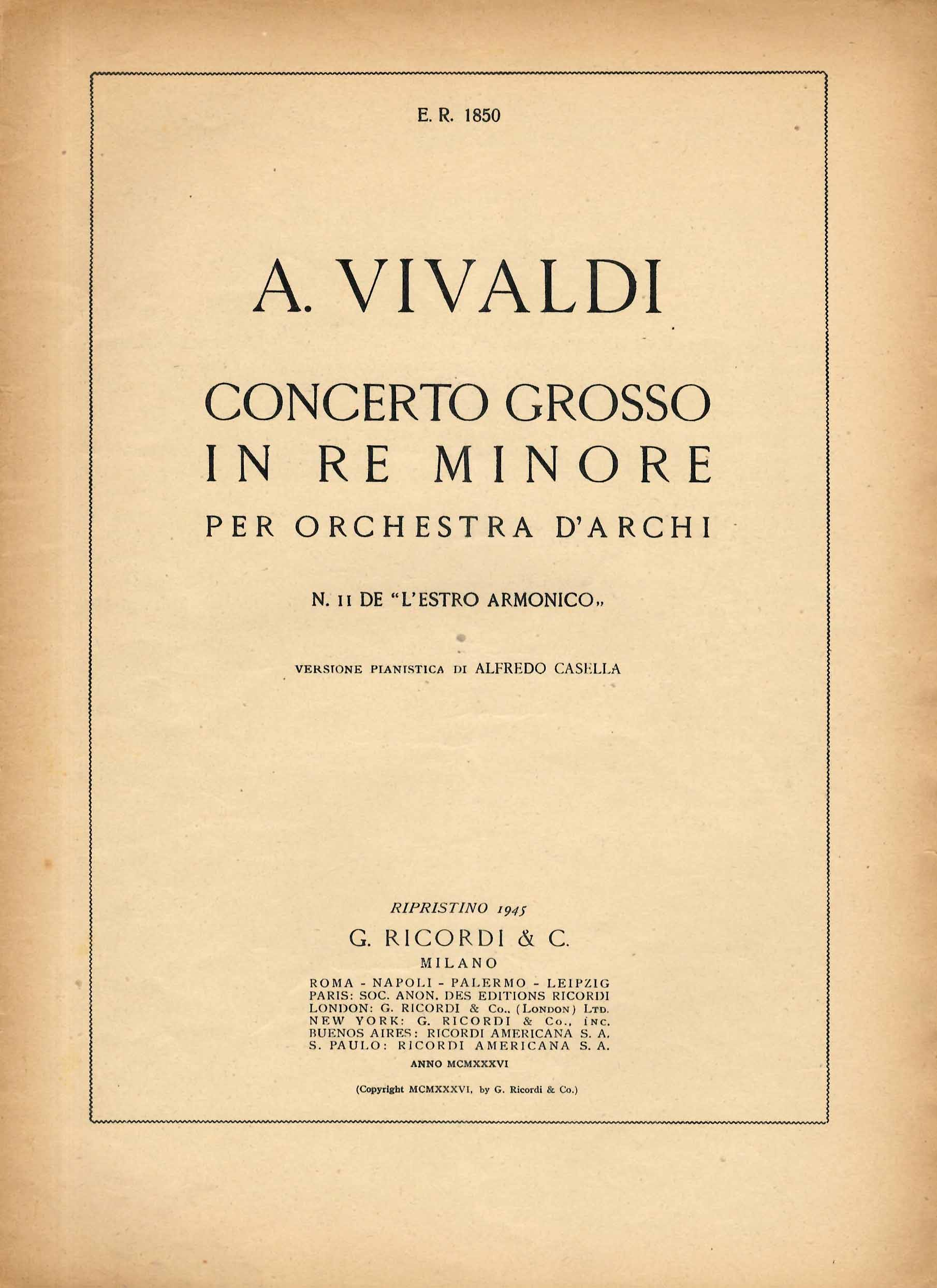 Concerto grosso in Re minore per orchestra d