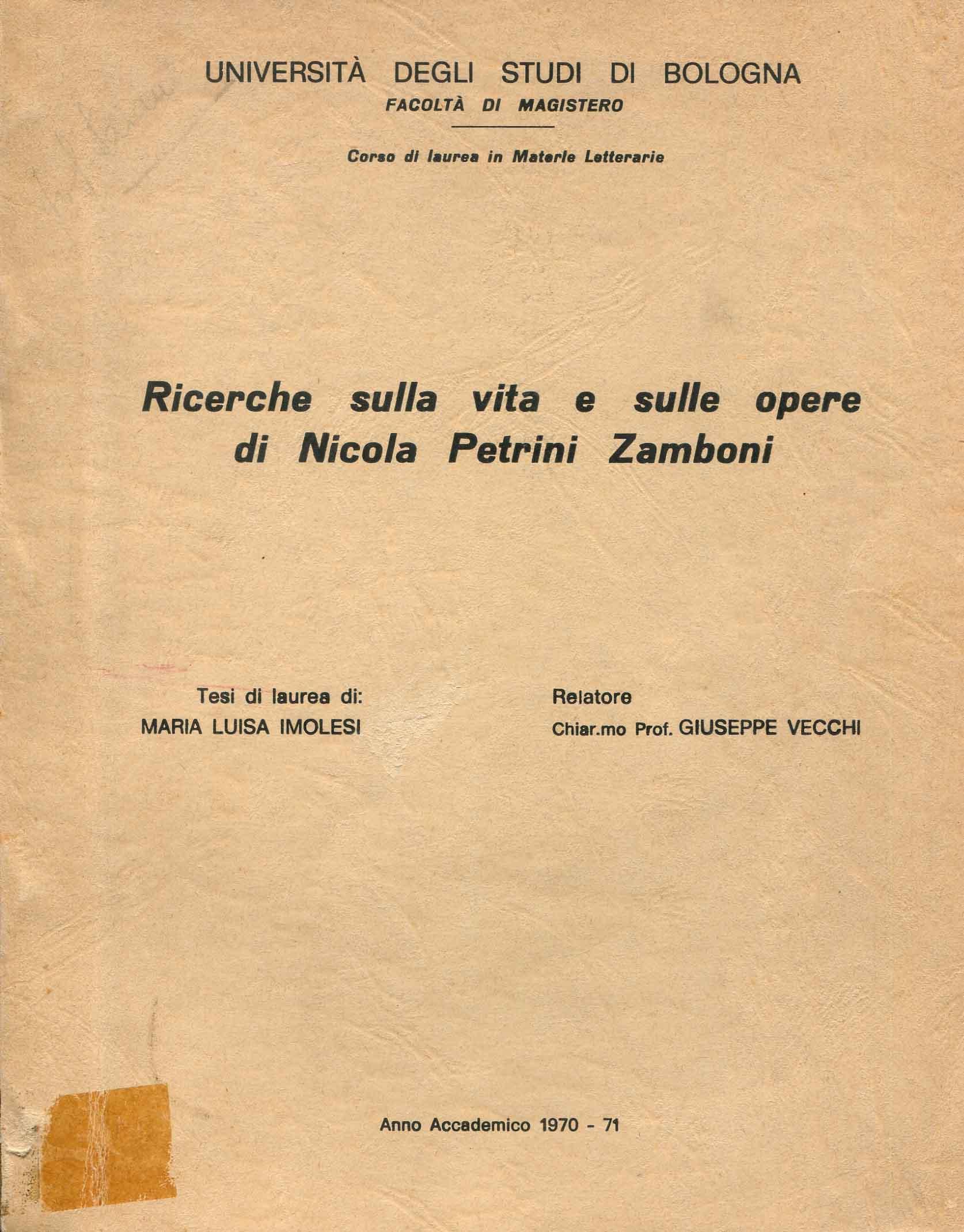 Ricerche sulla vita e sulle opere di Nicola Petrini Zamboni
