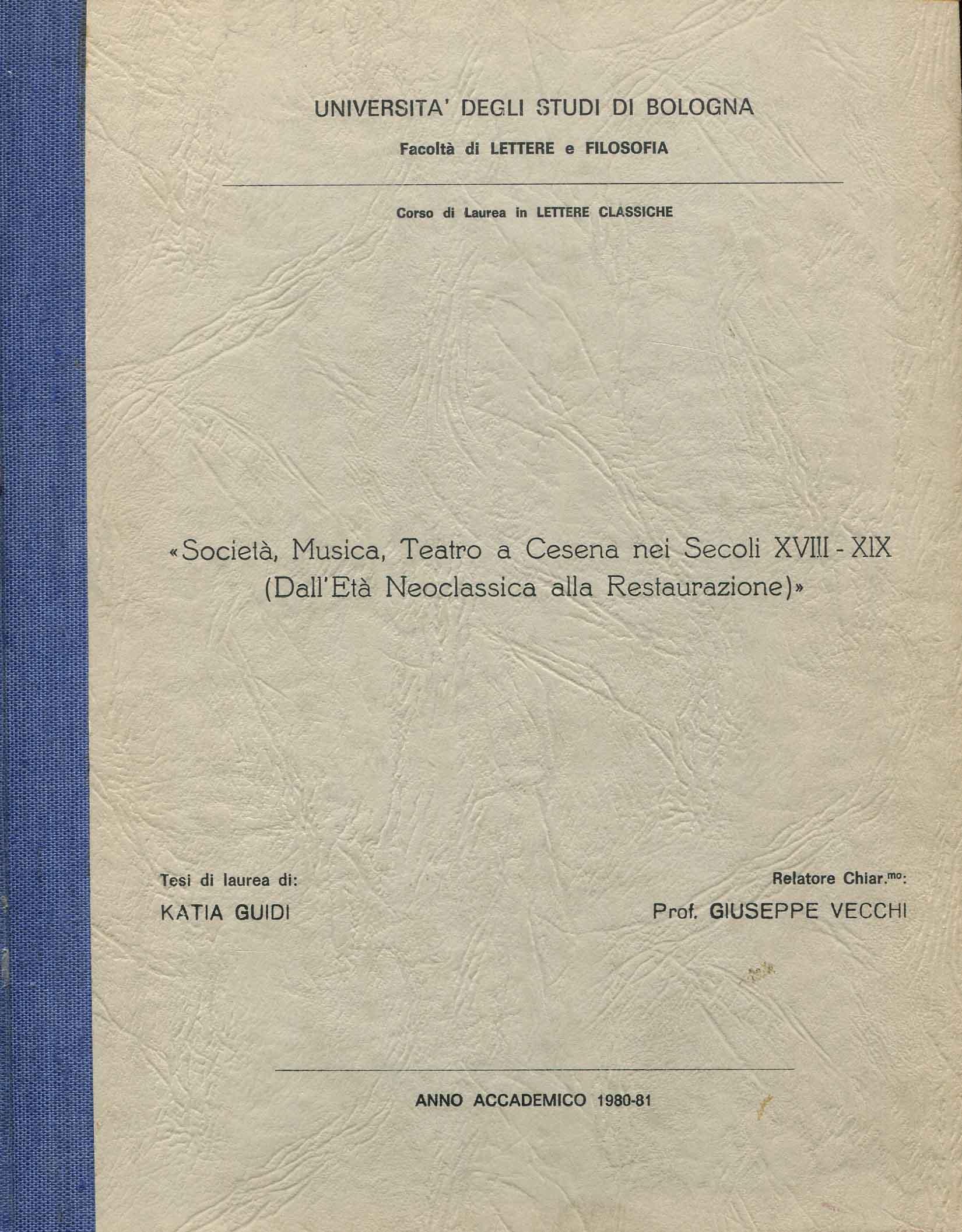 Società, musica, teatro a Cesena nei secoli 18-19. (dall