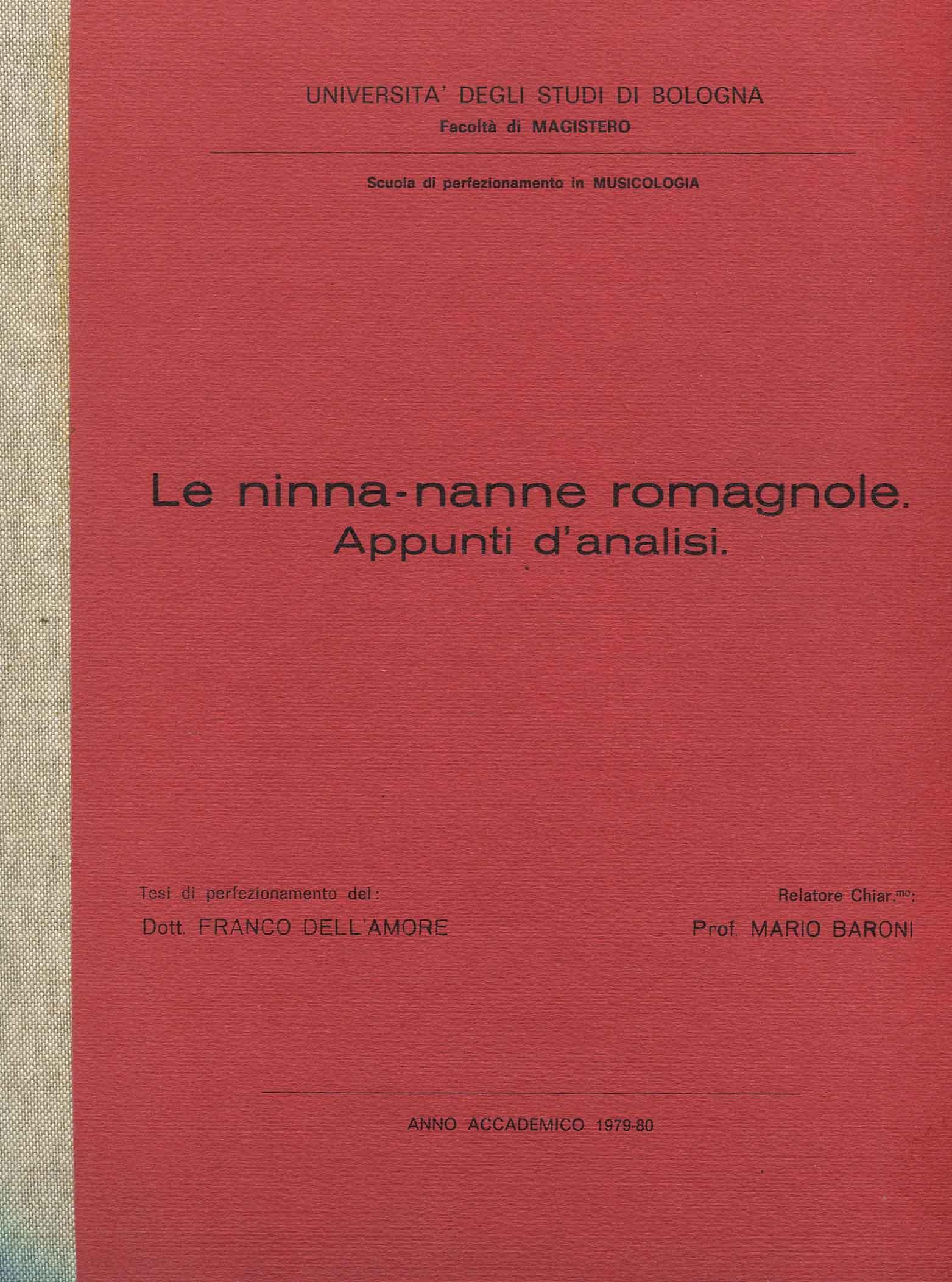 Le ninne-nanne romagnole : appunti d