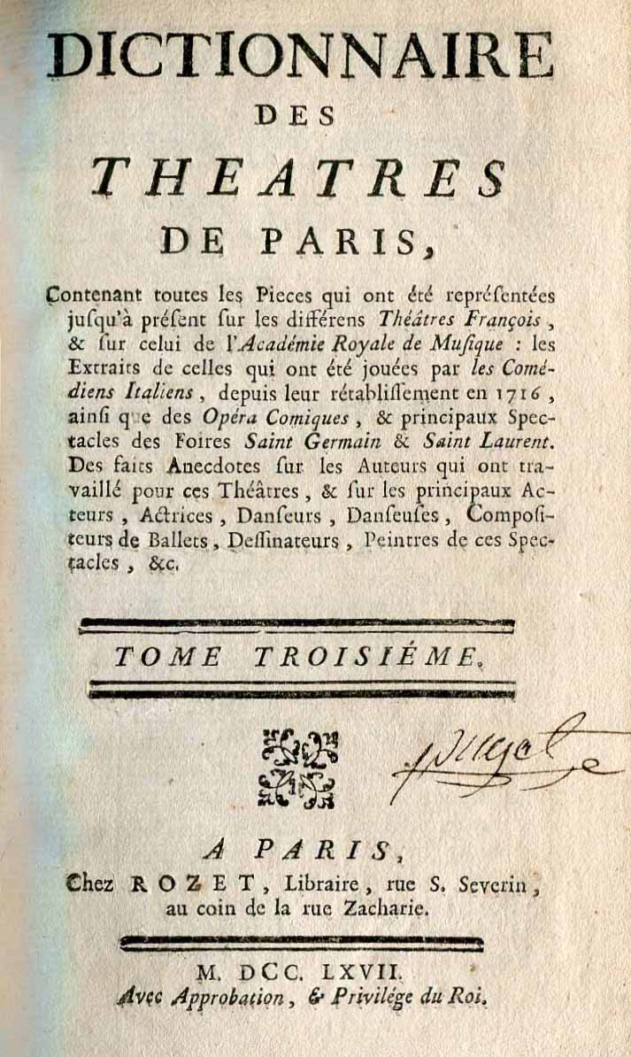 Dictionnaire de Theatres de Paris. Tome III