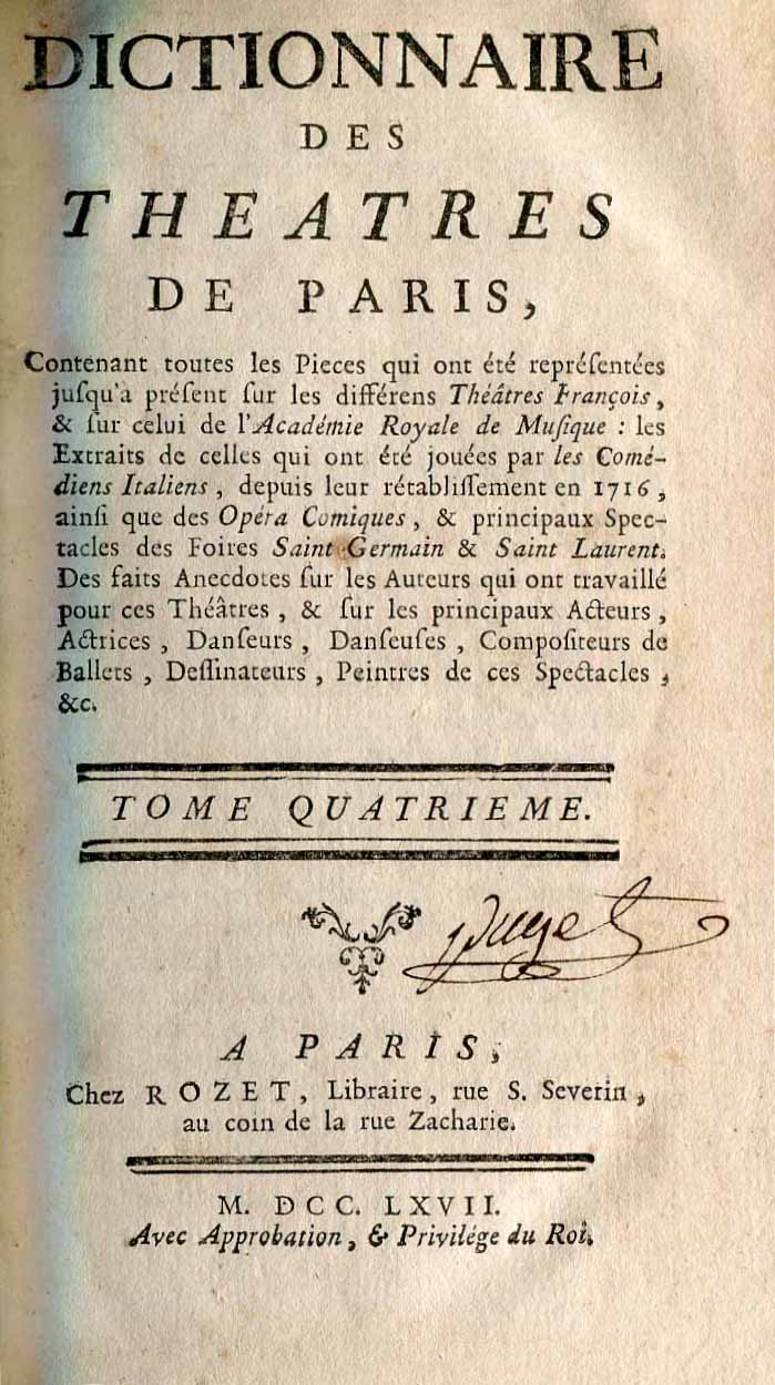 Dictionnaire de Theatres de Paris. Tome IV